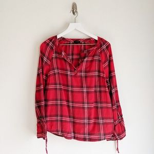 Talbots Red Plaid Top